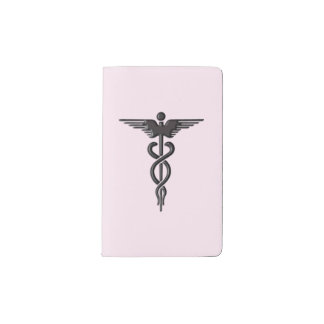 Pink Medical Caduceus Pocket Moleskine Notebook