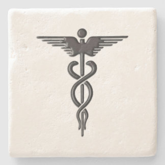 Pink Medical Caduceus Stone Coaster