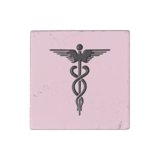 Pink Medical Caduceus Stone Magnets