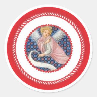 Pink Medieval Angel For Jesse Tree Round Sticker