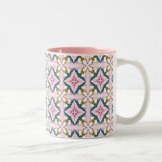 Pink medieval vitraux Two-Tone coffee mug