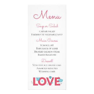 Pink Menu Love Blue Turquoise Flower Heart Wedding
