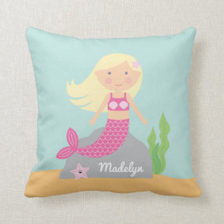 Pink Mermaid and Starfish Pillow