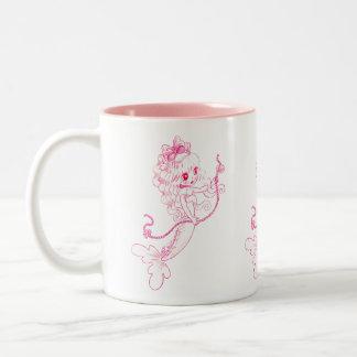 Pink Mermaid holding String Of Pearls Two-Tone Coffee Mug