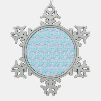 Pink Mermaid scales ,boho,hippie,bohemian Snowflake Pewter Christmas Ornament