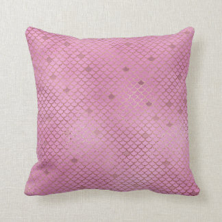 Pink Mermaid Scales Throw Pillow