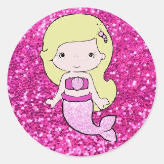 Pink Mermaid with Blonde Hair Stickers