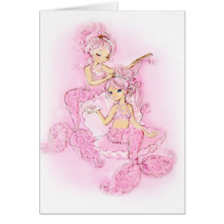 Pink Mermaids Maid of Honor Note Card
