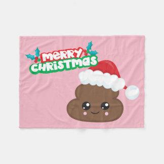 Pink Merry Christmas Poop Emoji Blanket