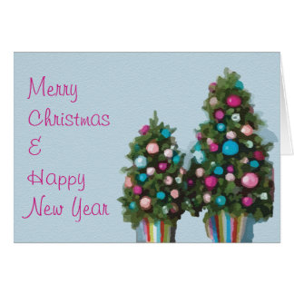 Pink Merry Christmas Trees Greeting Card