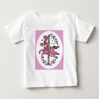 Pink merry-go-round horsie baby T-Shirt