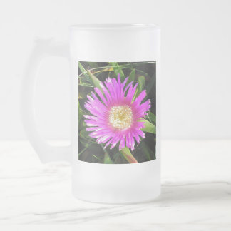 Pink Mesembyanthemum Frosted Glass Beer Mug