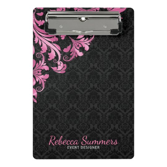 Pink Metal Lace And Black Damasks Mini Clipboard