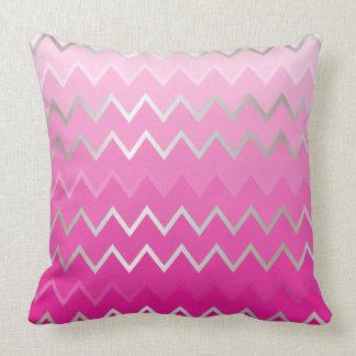 Pink Metallic Chevron Throw Pillow