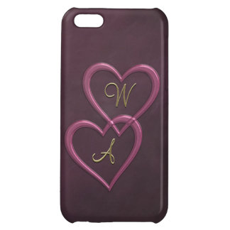 Pink metallic hearts on purple iPhone 5C case