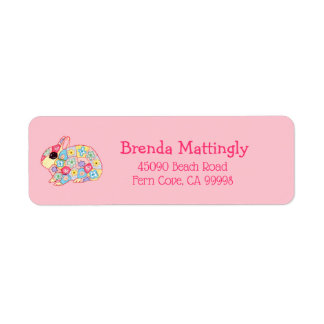 Pink Millefiori Flower Bunny Rabbit Monogram Name
