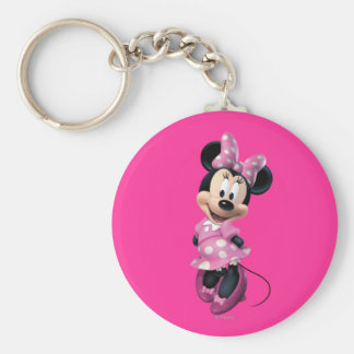 Pink Minnie | Hands Behind Back Basic Round Button Keychain