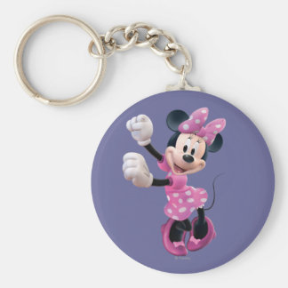 Pink Minnie | Hands Up and Dancing Basic Round Button Keychain