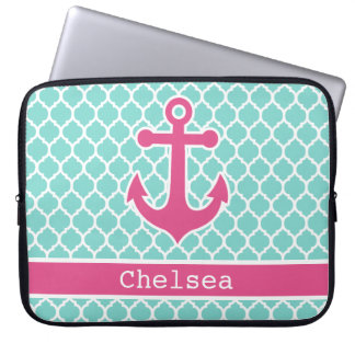 Pink Mint Anchor Moroccan Lattice Pattern Laptop Sleeve