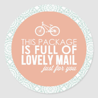 Pink & Mint Floral Bicycle Mail Packaging Sticker