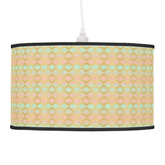 Pink Mint & Gold Chevron Geometric Hanging Lamp