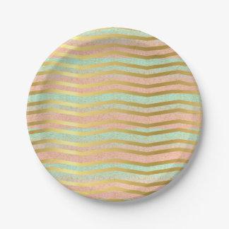 Pink & Mint Gold Chevron Stripe Paper Plate 7 Inch Paper Plate