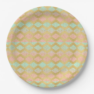 Pink & Mint Gold Chevron Stripe Paper Plate 9 Inch Paper Plate