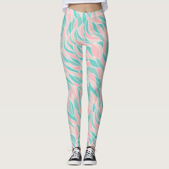 Pink Mint Green Abstract Wave Leggings