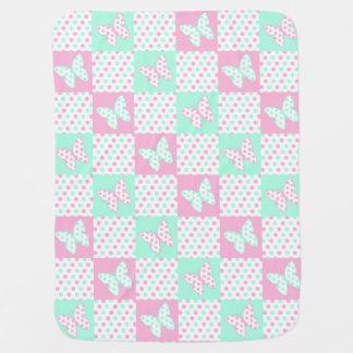 Pink Mint Green Butterfly Polka Dot Quilt Block Baby Blanket