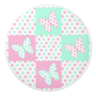 Pink Mint Green Butterfly Polka Dot Quilt Girl Ceramic Knob