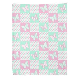 Pink Mint Green Butterfly Polka Dot Quilt Girl Duvet Cover