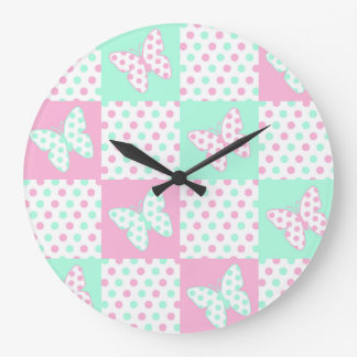 Pink Mint Green Butterfly Polka Dot Quilt Girl Large Clock