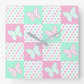 Pink Mint Green Butterfly Polka Dot Quilt Girl Square Wall Clock