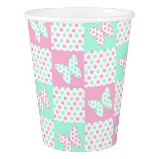 Pink Mint Green Butterfly Polka Dot Quilt Pattern Paper Cup