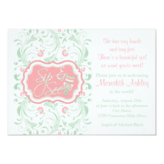 Pink Mint Green Floral Sip N See Baby Shower Card