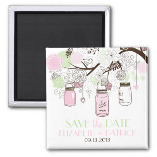 Pink & Mint Green Mason Jars Save the Date Magnet