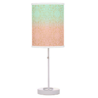 Pink Mint Green Ombre Gold Glitter Geometric Table Lamp