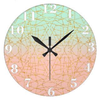 Pink Mint Green Ombre Gold Glitter Geometric Wall Clocks