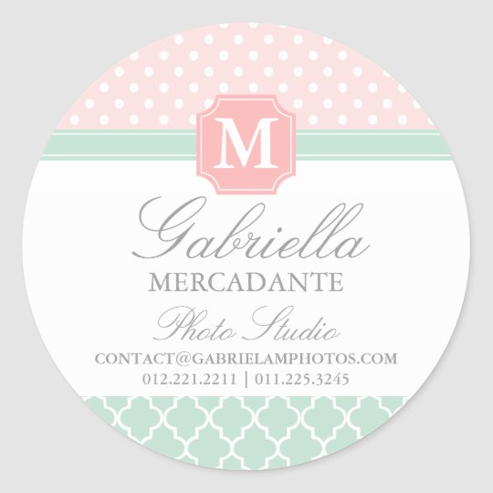 Pink Mint Polka Dots Moroccan Business Custom Classic Round Sticker