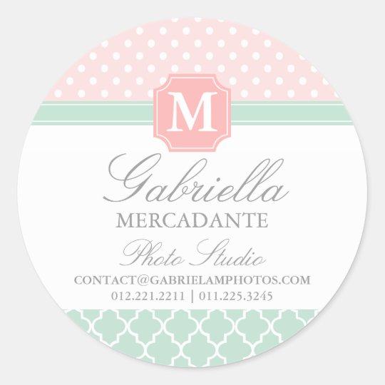 Pink Mint Polka Dots Moroccan Business Custom Classic Round Sticker