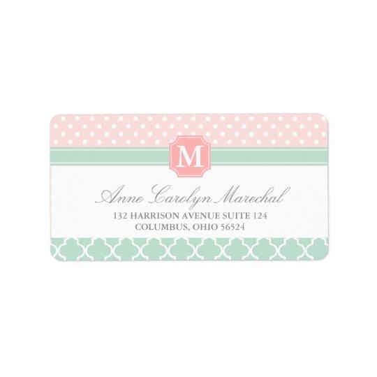 Pink Mint | Polka Dots Moroccan | Monogrammed