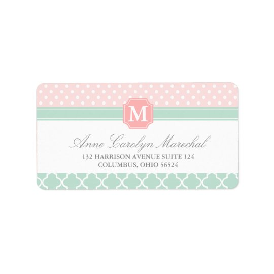 Pink Mint | Polka Dots Moroccan | Monogrammed Label