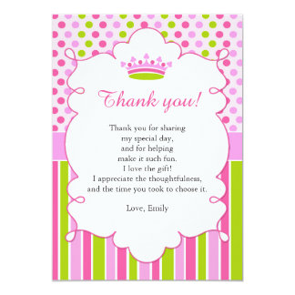 Pink Mint Princess Thank You Card Note