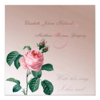 Pink Mist Rose Wedding Card