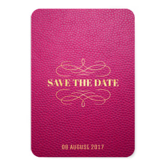 Pink Mock Leather Instagram Style Save The Date Card