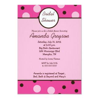 Pink Mod Dot 5x7 Bridal Shower Invitation
