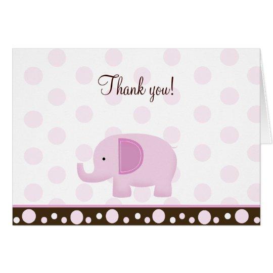 Pink Mod Elephant Folded Thank you notes