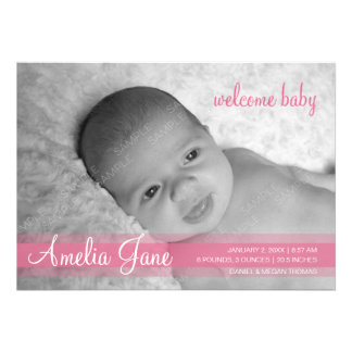 Pink Modern Baby Girl Announcement