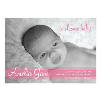 "Pink Modern Baby Girl Announcement 5"" X 7"" Invitation Card"