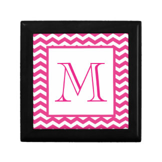 Pink Modern Chevron Custom Monogram Gift Box
